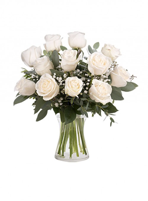 Tocco di Classe: 12 Rose Bianche