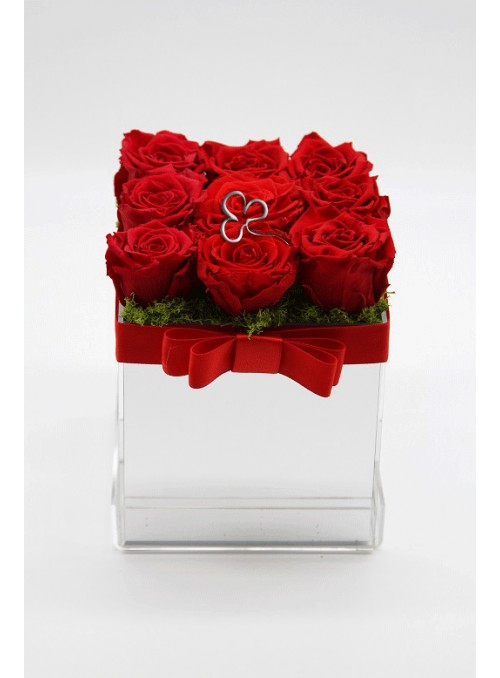 Red roses mirror box