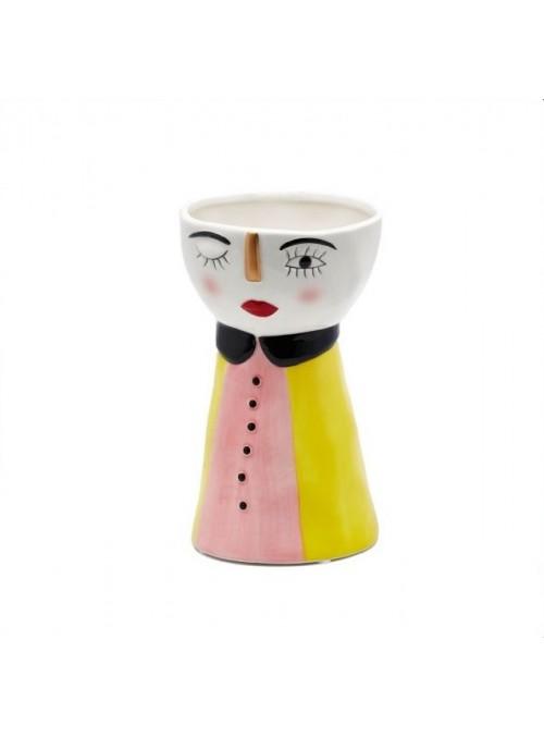 """Vaso doll vestito giallo-rosa """"Edg"""""""