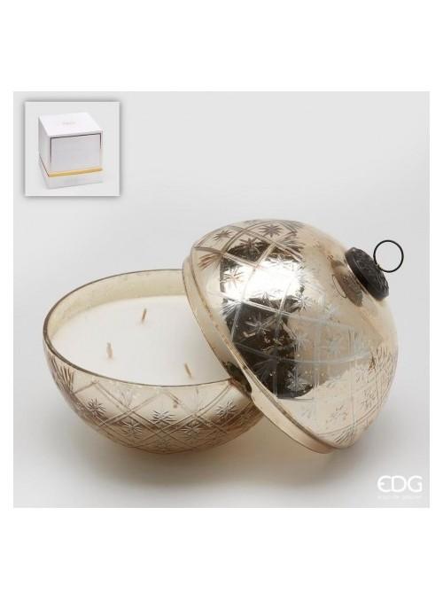Candela sfera di vetro molato