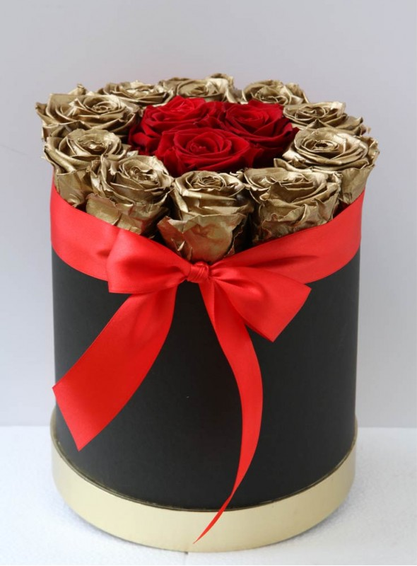 Box rose rosse e oro