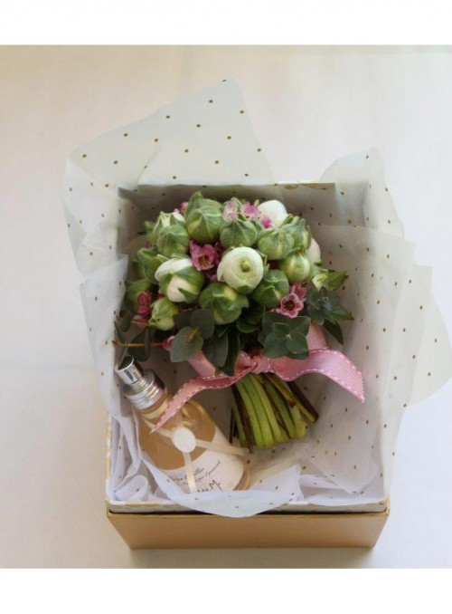 Antoniette mini bouquet con cofanetto e profumo