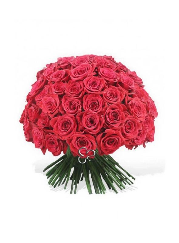 Bouquet di 50 splendide rose rosse Red Naomi stelo medio.