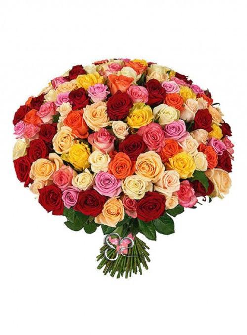 Fascio di 50 rose miste di colore.